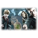 Salazar Slytherins Horkrux Pendant / Medallion - silver-plated with faccierte smoky amber imitation (both sides)