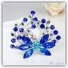 blaue Blumen Brosche versilbert mit hochwertigen Strass-Steinen