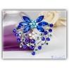 zeitlose elegante blaue Kristall Blüten Brosche versilbert mit hochwertigen Strass-Steinen