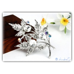 timeless elegant silver crystal petal brooch silver plated with high quality rhinestone stones