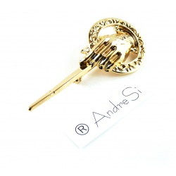 King's Brooch Hand - Hard Gold Plated & Bright Shaded - Lapel Pin with Rotary Clip - Hand of the King