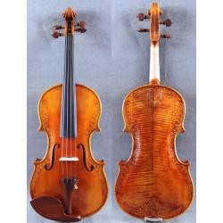 Maestro Konzertvioline mit Intarsien Schnitzereien - hochwertiger Stradivari Nachbau 4/4
