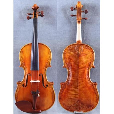 Maestro Konzertgeige mit Intarsien Schnitzereien - hochwertiger Stradivari Nachbau 4/4