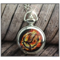 The Tribute of Panem - Mocking Watch Pendant Silver with Interior Mirror - Quartz Watch - Hunger Games