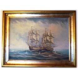 originales Ölgemälde Seeschlacht Fregatten Corsi inkl. Rahmen