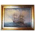 original oil painting of two frigates in Battle of Corsi incl. frame