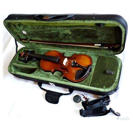 hochwertige 4/4 Schüler- Studenten- Konzert-Violine aus vollmassiven Tonhölzern mit Perlmut, Formkoffer und Bogen