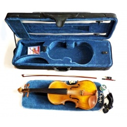 high-quality 4/4 student concert violin golden yellow made of full solid clay woods complete with shaped case and bow
