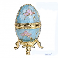 Faberge Ei edel emailliert mit Schmetterlingsblüten und vergoldet als aufklappbare Schmuckdose