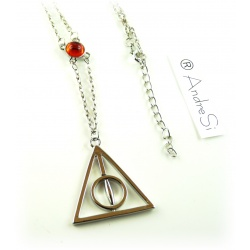 Necklace - Deathly Hallows - with red crystal