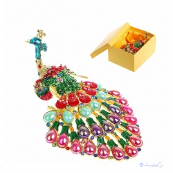 Peacock jewelry box with noble crystals, hard plated and as a hinged jewelry box
