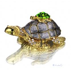 Schildkröte Schmuckdose mit klaren Kristallen, vergoldet und als aufklappbare Schmuckdose