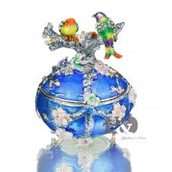 Faberge Ei mit bunten Vögeln emailliert mit Kristallen veredelt, versilbert und als aufklappbare Schmuckdose