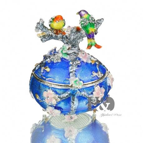 Faberge Ei mit Fasan emailliert mit Kristallen veredelt, versilbert und als aufklappbare Schmuckdose