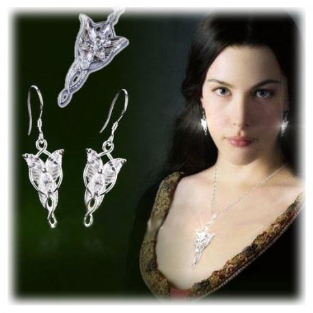 Arwens Abendstern Anhänger und Ohrringe aus 925er Sterling Silber mit facettenreichen Swarowski-Kristallen