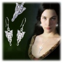 Arwens Evening Star pendant and earrings in 925 sterling silver with multifaceted Swarowski crystals
