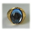 Celeborn ring hard gold plated with deep blue crystal, husband Galadriels