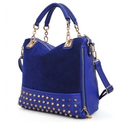 female bag rivet package stitching flannel bag shoulder bag fashion handbag