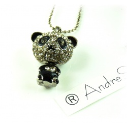 Pendant crystal panda bear enamelled and silver plated