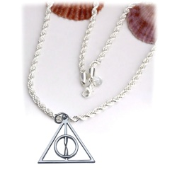 Necklace - Deathly Hallows - Platinum hard-core pendant with supple 50-52cm snake chain