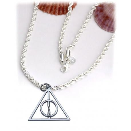 HP Fashion - Halskette - Heiligt?mer des Todes - Platinum hartverdelter Anh?nger mit geschmeidiger 50-52cm Schlangenkette