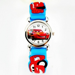 Cars Wristwatch Kids Time Kids Watch, Various Motifs - Silicone Bracelet Light Blue/Colorful