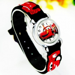 Cars Wristwatch Kids Time Kids Watch, Various Motifs - Silicone Bracelet Black/Colorful