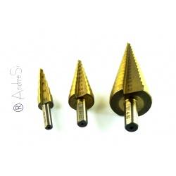 HSS-Stufenbohrer: Ø 4 - 32, 4 - 20 und 4 - 12 mm mit Titanbeschichtung