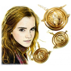 Hermione Reverse Earrings +Pendant Set - H.Potter Time-Turner 18K Plated