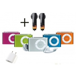 Mini MP3 player including clip and headphones, aluminum case