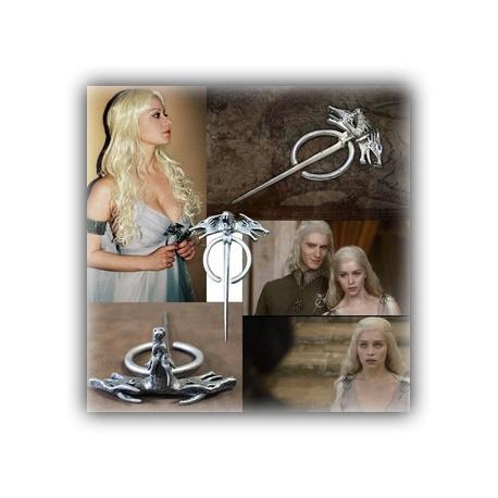 Targaryen Drachenbrosche - gro? - hartversilbert & schattiert - Daenerys's Dragon (Wolf) Brooch - G.o.T, Fashion