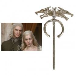 HQ Targaryen Drachenbrosche - groß - hartversilbert & schattiert - Daenerys's Dragon (Wolf) Brooch - G.o.T, Fashion