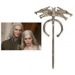 HQ Targaryen Dragon Brooch - Large - Hard Silver plated & Shaded - Daenerys Dragon (Wolf) Brooch - G.o.T, Fashion