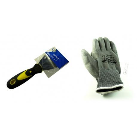 """Spachtel 3"""" mit hochwertiger Stahlklinge und 2 teiligem Gummigriff + Handschuhe"""