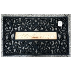 Welcome rubber mat entrance mat 45x75cm black