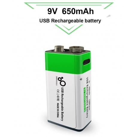 9V Block Akku USB li-ion Battery 650mAh 100% cap. li-polymer per USB aufladbar