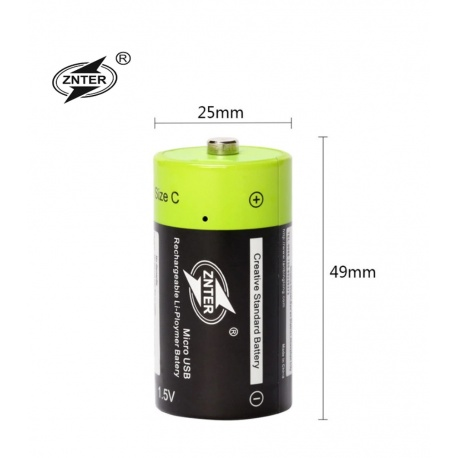 C Cell Akku USB li-ion Battery 3000mAh 100% cap.li-polymer p.USB aufladbar ZNTER