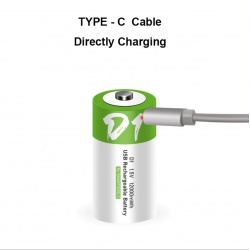 D Cell Battery lithium-ion Battery 12.000mWh 100% cap.li-polymer chargeable via USB