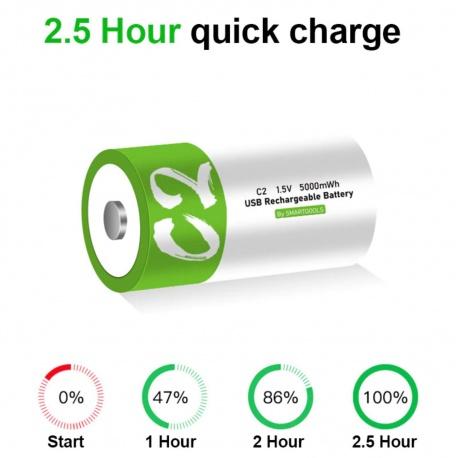 D Cell Akku lithium-ionen Battery 12.000mWh 100% cap.li-polymer per USB ladbar