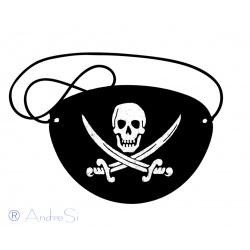 Piraten Augenklappe mit Totenkopf - Fluch der Karibik - schwarzer Filz +Gummizug