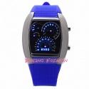 Racing Fashion Blue LED Chrome Digital Watch