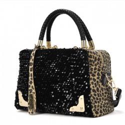 Damen Handtasche Leopard Flitter Umh?ngetasche