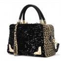 Damen Handtasche Leopard Flitter Umhängetasche