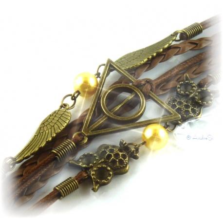 Armband Heiligt?mer des Todes - mit Schnatz (Snitch) und markanten Schleiereulen