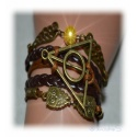 Bracelet Deathly Hallows - with Snitch and Barn Owls, Dark Brown / Aldgold