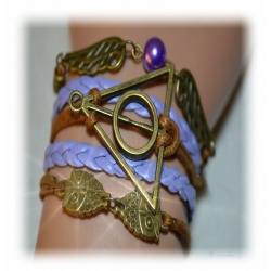 Armband Heiligtümer des Todes - mit Schnatz (Snitch) und Schleiereulen, Dunkelbraun / aldgold