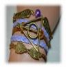 Armband Heiligt?mer des Todes - mit Schnatz (Snitch) und Schleiereulen, Dunkelbraun / aldgold