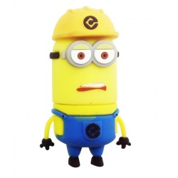 8GB USB Stick Funny Male (Construction Worker with Yellow Helmet Two Eye) with LED