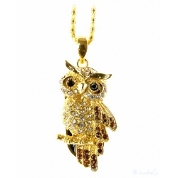 Enchanting Crystal Owl Black/Gold - 8GB USB Stick