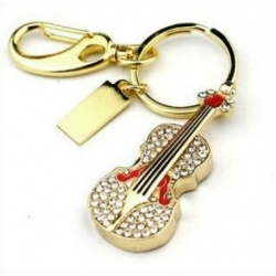 Crystal Violin / Violin - 8GB USB Stick 2.0 - Crystal Diamond Violin - Gold/Red